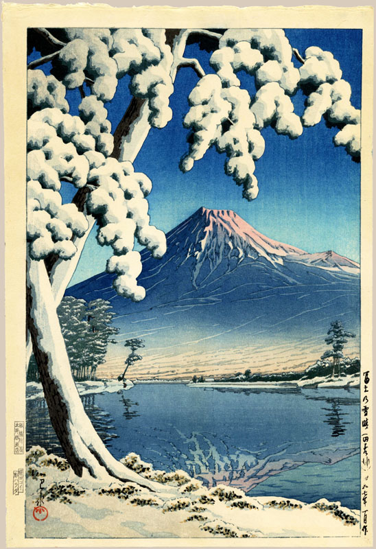 """Clearing after a Snowfall on Mt. Fuji, Tagonoura Beach"" by Hasui, Kawase"