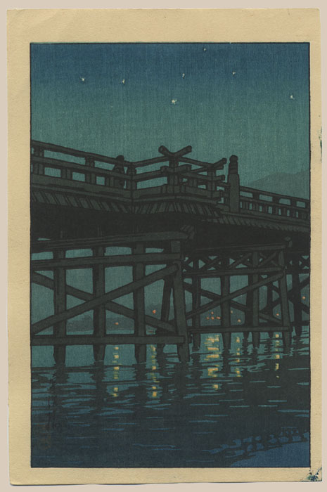"""Bridge on a Starry Night"" by Hasui, Kawase - Small format"