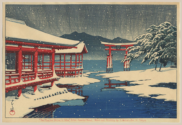 """Miyajima Shrine in Snow"" by Hasui, Kawase"