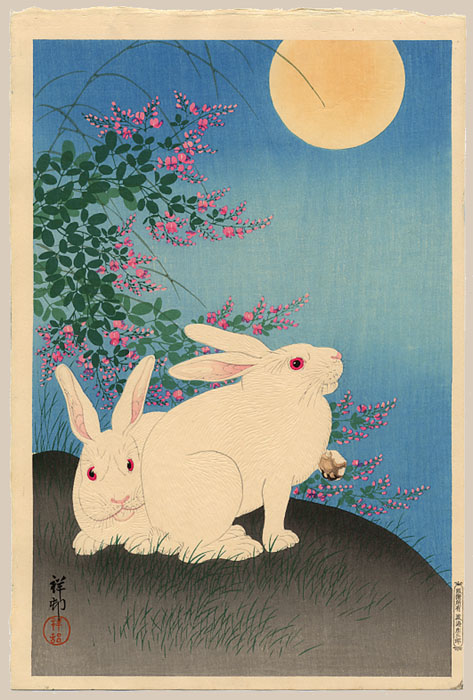 """Two White Rabbits Under a Full Moon"" by Shoson"