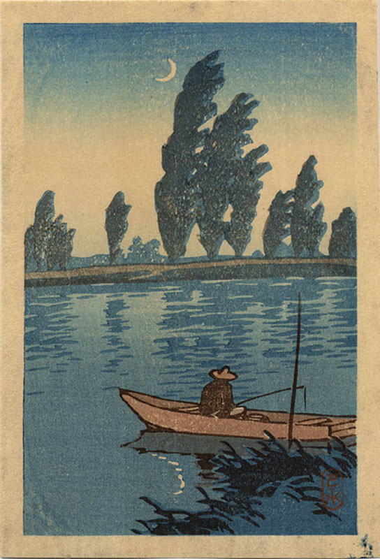 """Fisherman on a Moonlit Night"" by Hasui, Kawase - Small format"