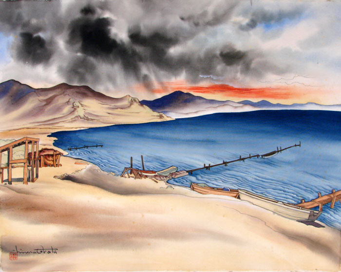 """Pyramid Lake, Nevada"" by Obata, Chiura"