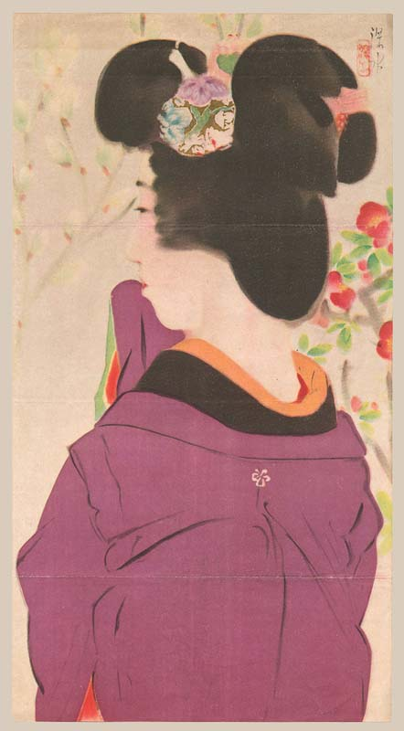 """A Young Beauty Under Flower Blossoms"" by Shinsui, Ito"