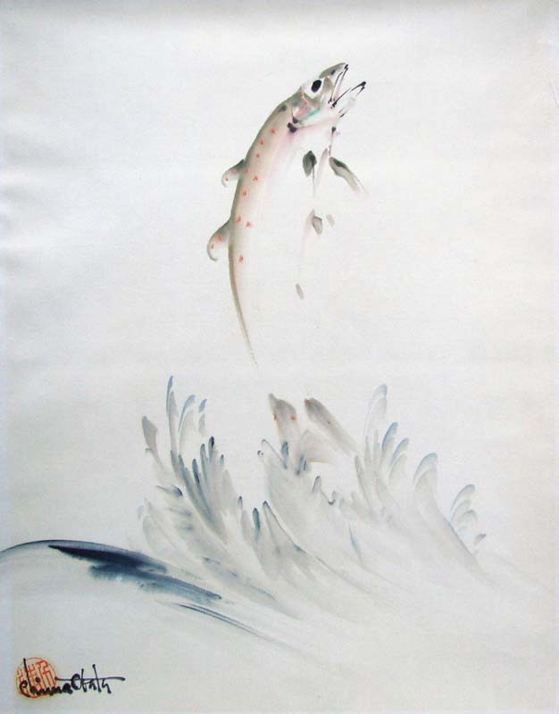 """A Leaping Trout"" by Obata, Chiura"