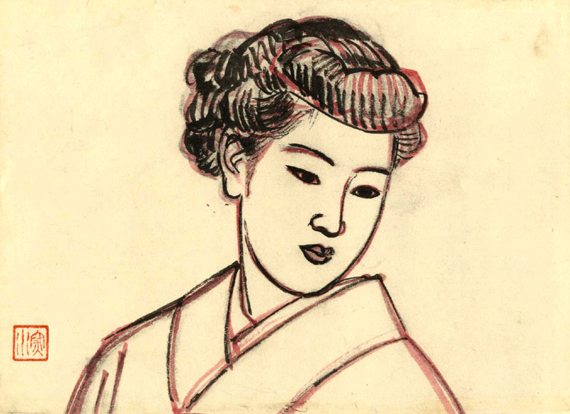 """A Profile of The Beauty Yokogao - Original Drawing"" by Shinsui, Ito"