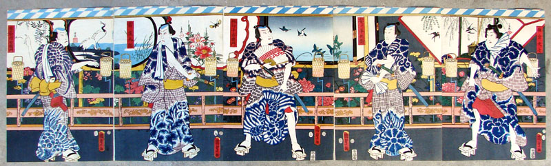 """Group of Five Kabuki Actors"" by Kunisada"