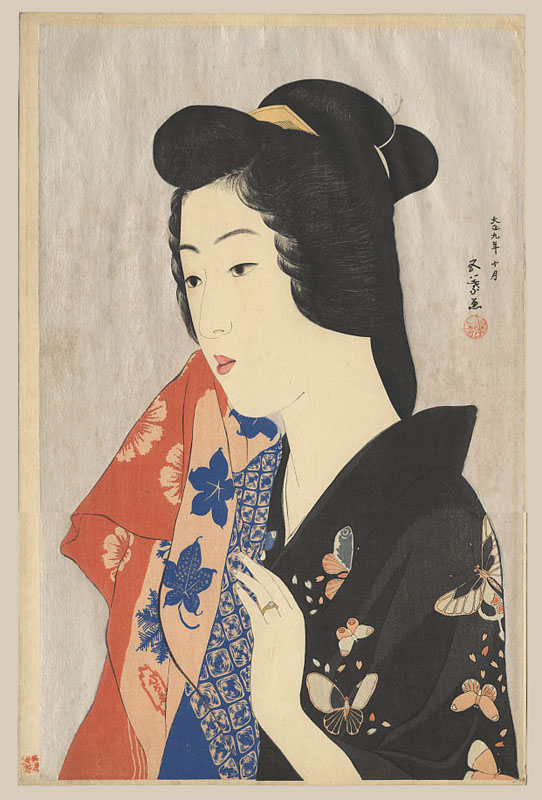 """Woman with Hand Towel (Tenugui moteru onna)"" by Goyo, Hashiguchi"
