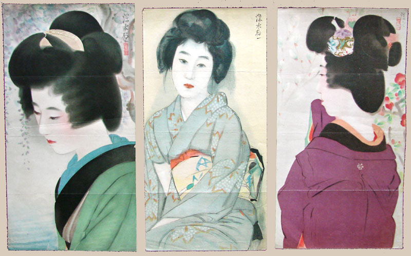 """Three Color Lithographs of Beauties"" by Shinsui, Ito"