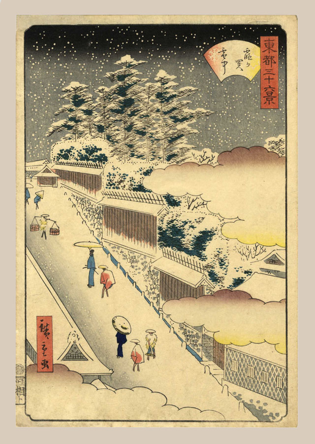 """Kasumigaseki in Snow"" by Hiroshige II"