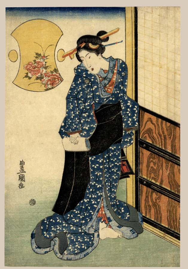 """A Courtesan with a Love Letter"" by Toyokuni II"