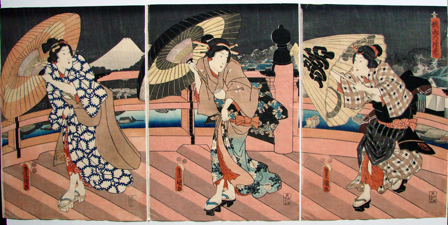 """Three Beauties in a Sudden Shower"" by Kunisada"