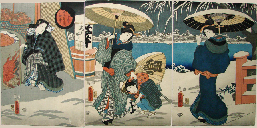 """First Snow - 10th Month"" by Kunisada"