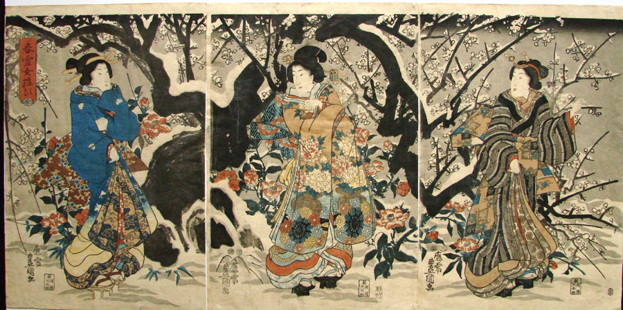 """Beauties in a Spring Snow"" by Kunisada"