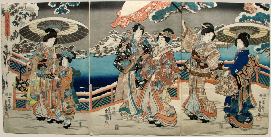 """Snow in the Winter Garden"" by Kunisada"