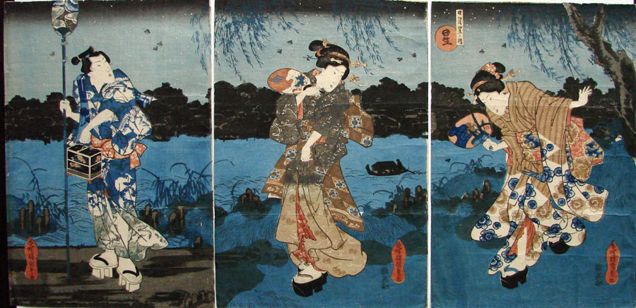 """Walking Along the Riverbank at Night"" by Kunisada"