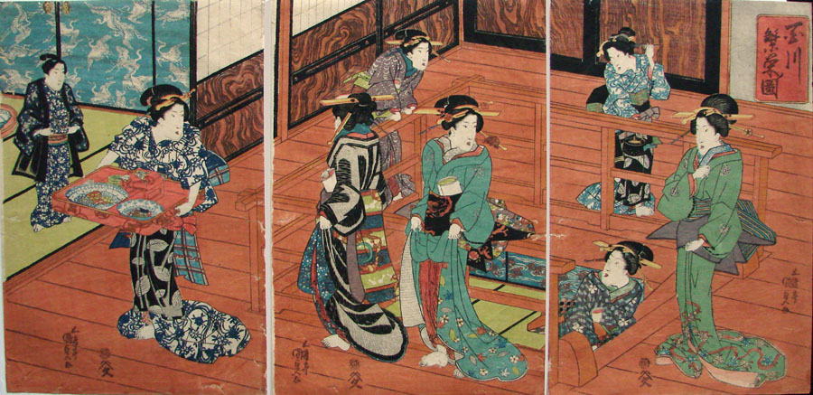 """The Eating House"" by Kunisada"