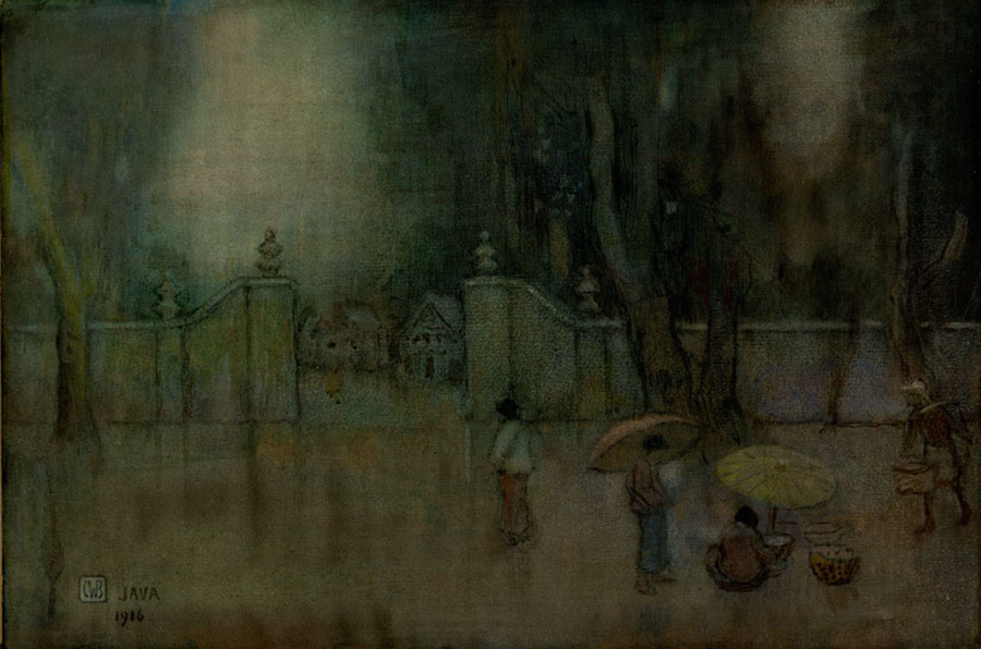 """Outside a Walled Javanese Village - Original Watercolor"" by Bartlett, Charles"