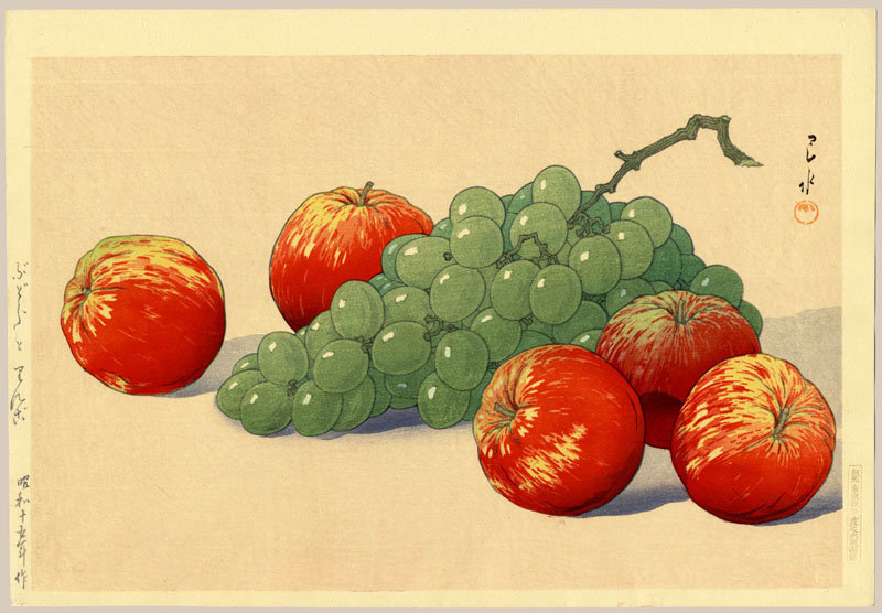 """Grapes and Apples"" by Hasui, Kawase"