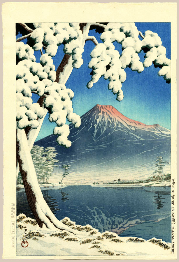 """Clearing After a Snowfall on Mount Fuji"" by Hasui, Kawase"