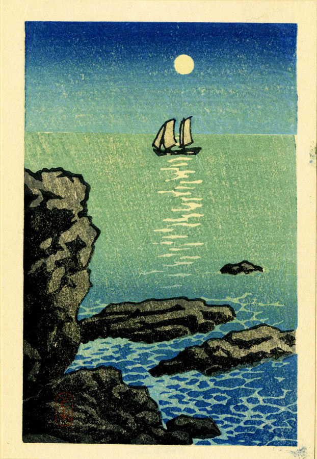 """Seascape with Full Moon"" by Hasui, Kawase - Small format"