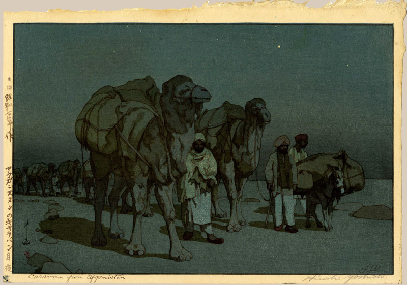 """Caravan from Afghanistan on a Moonlit Night"" by Yoshida, Hiroshi"