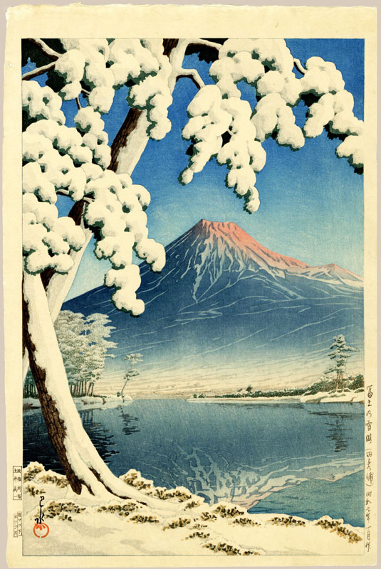 """Clearing After a Snowfall on Mount Fuji (Early State)"" by Hasui, Kawase"