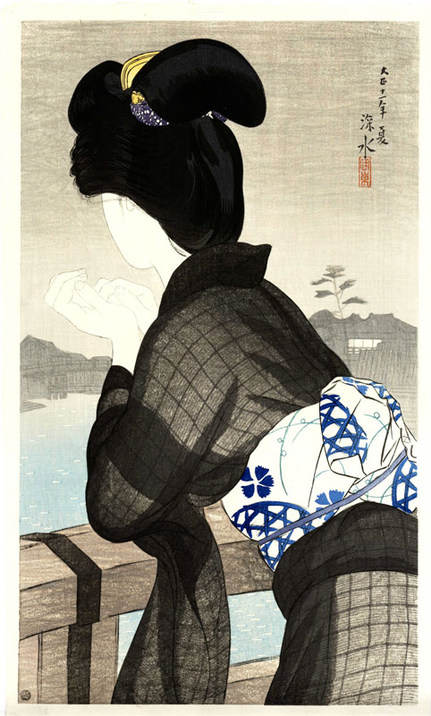 """Enjoying The Evening Cool (Pre-Earthquake)"" by Shinsui, Ito"