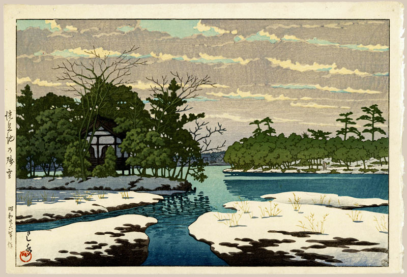 """Lingering Snow at Sensoko Pond"" by Hasui, Kawase"