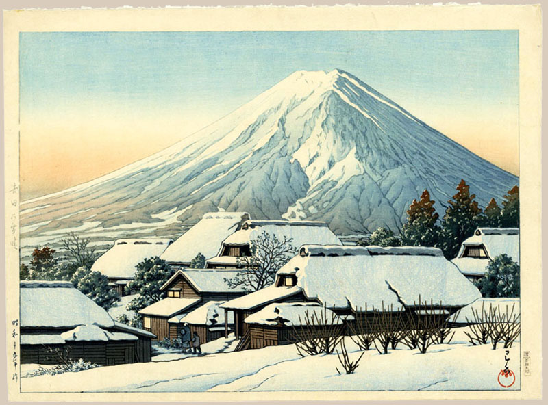 """Clearing after a Snowfall, Yoshida"" by Hasui, Kawase"