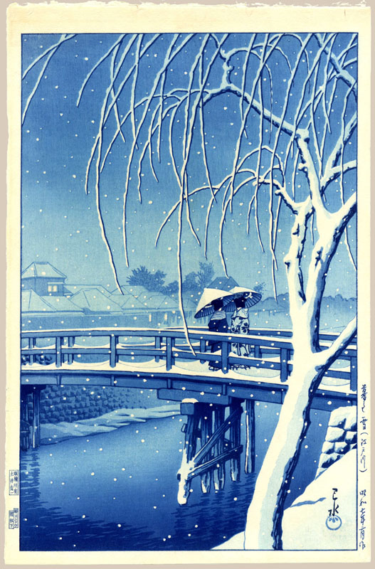 """Evening Snow at Edo River - Blue (First State)"" by Hasui, Kawase"