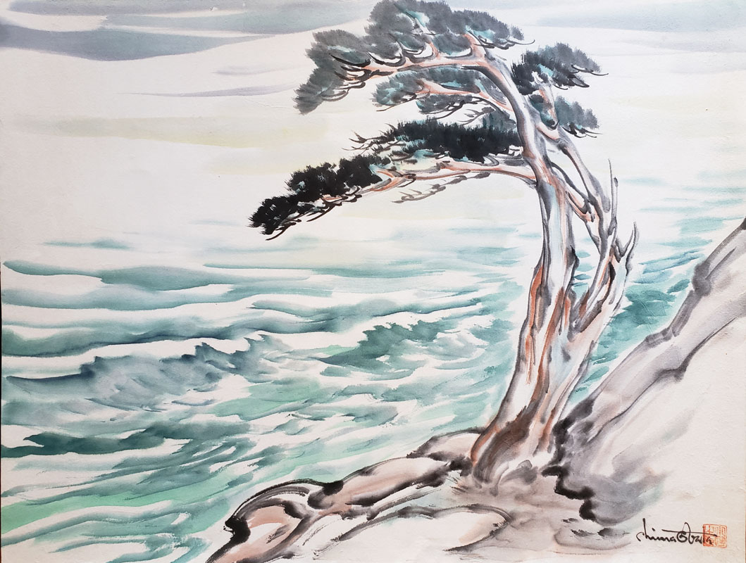"""A Lone Carmel Cypress - Original Painting"" by Obata, Chiura"