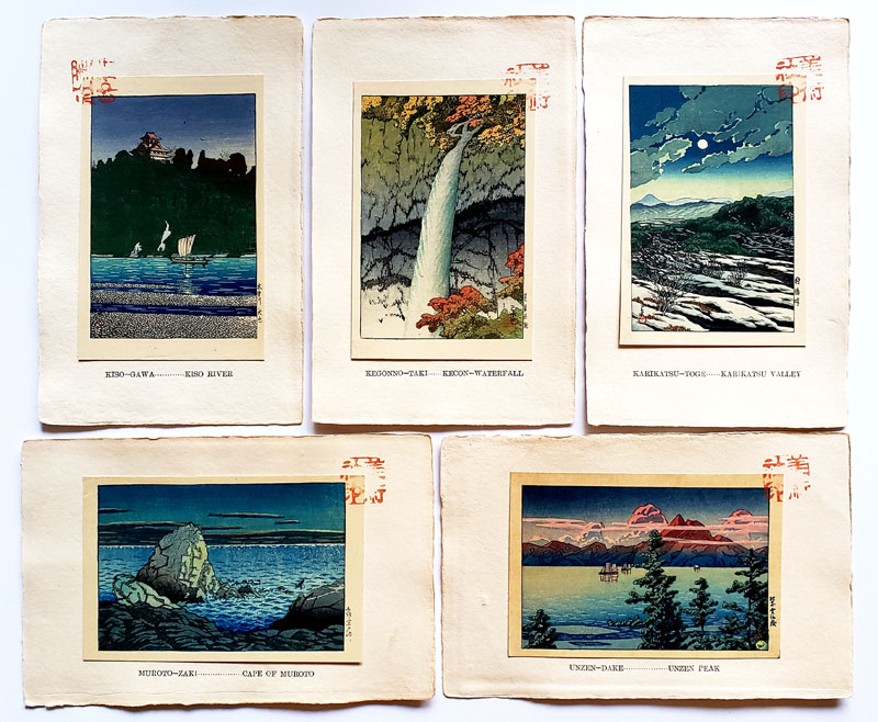 """The New Eight Scenery of Japan Group of 5"" by Hasui, Kawase"