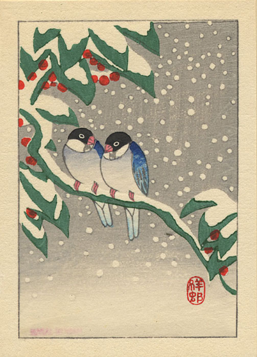 """Two Bluebirds and Snow-Covered Nandin Bush"" by Shoson"
