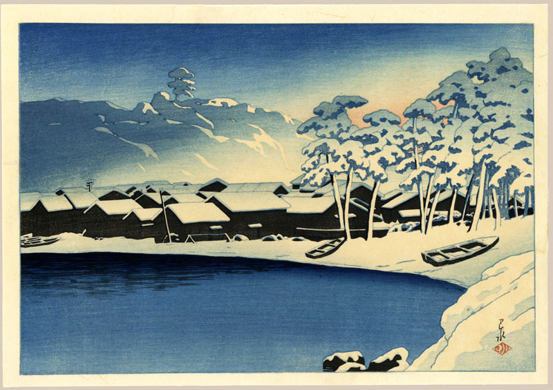"""Dawn Snow at The Port of Ogi, Sado (Pre-Earthquake)"" by Hasui, Kawase"