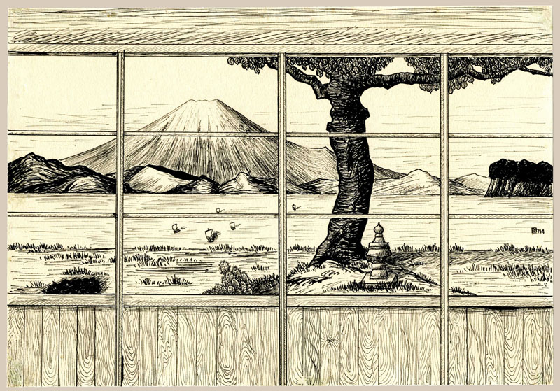 """View of Mt. Fuji, From an Inn at Hayama - Original Painting "" by Miller, Lilian"