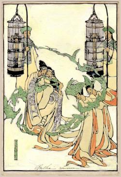 Thumbnail of Raised Line and Hand-Colored Woodblock Print by Lum, Bertha