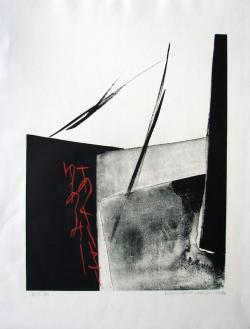 Thumbnail of Limited Edition Lithograph with Sumi-e Brushstrokes by Shinoda, Toko