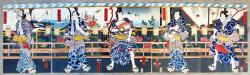 Thumbnail of Original Japanese Woodblock Pentaptych by Kunisada