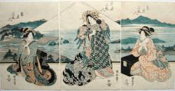 Thumbnail of Original Japanese Woodblock Print - Triptych by Kuniyasu